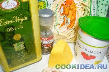 Паста с томатно-чесночной заправкой и сыром - Ингредиенты