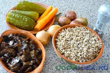 Рассольник с грибами - Исходные продукты