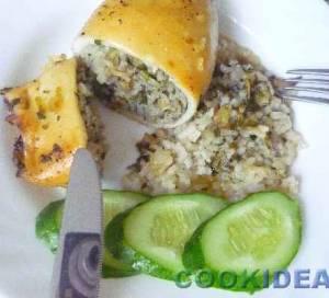 Кальмары, фаршированные шпинатом