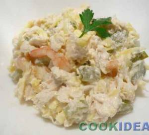 Салат куриный, с креветками