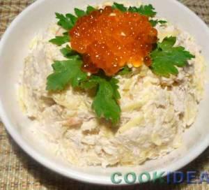 Салат куриный с креветками