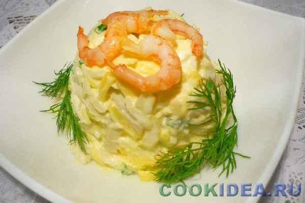 салат нежный с кальмарами фото